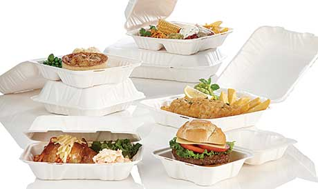 Huhtamaki's moulded-fibre hinged food container