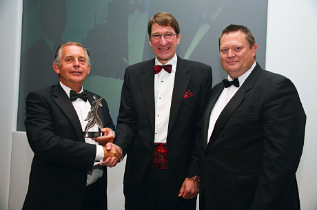 Endoline's Alan Yates, left, and operations director Garry Powell accept the award from Chris Buxton, of the PPMA.