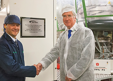 Andrew Green (left) of BPI gave Michael Fallon MP  a warm welcome to the company's Kent facility but that didn't stop him questioning the feasibility of the UK government's recycling targets.