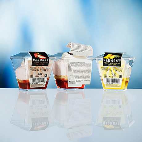 Booklet labels for Harmony Fruit & Yoghurt Desert (Pago International).