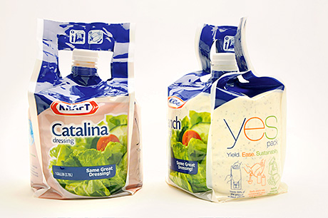 Some of the best: Kraft's YES pack (top); The Amcor PushPop (bottom left); and the Kusi Wayta pouch (bottom right).