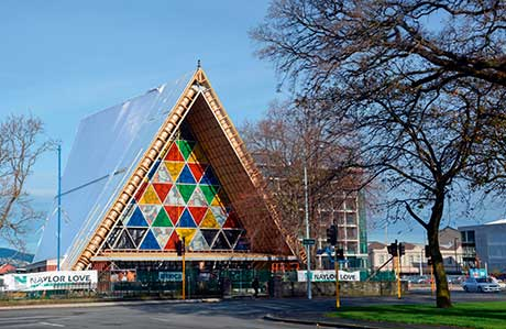Christchurch's makeshift cathedral made use of corrugated packaging, allowing Christmas services to run following the 2011 earthquake.
