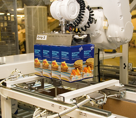 The robot cell is fitted with a six-axis ABB robot arm which can be fitted with between six and 12 suction grippers to suit a range of product quantities