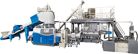 Erema's Corema system can turn plastic recyclate into a filtered melt which then goes directly to a co-rotating twin-screw extruder