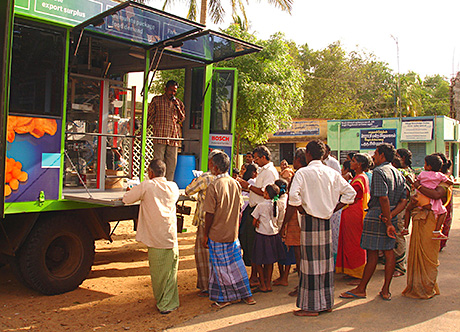 Helping others help themselves: A previous initiative in India from Bosch Packaging saw the German company mounting specially-adapted packaging machines on the backs of trucks, to demonstrate their advantages to local farmers.