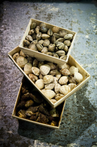 Jean Lebeaupin's shellfish are frequently delivered in bags or wooden crates