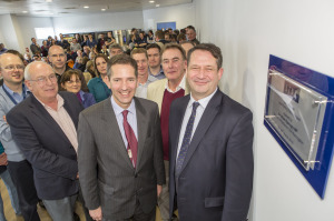 Mike Keeling – Founder of Linx, Jonathan Djanogly – MP for Huntingdon, Hill Weinberg – Founder of Linx and Nigel Hood – Managing Director Linx Printing Technologies