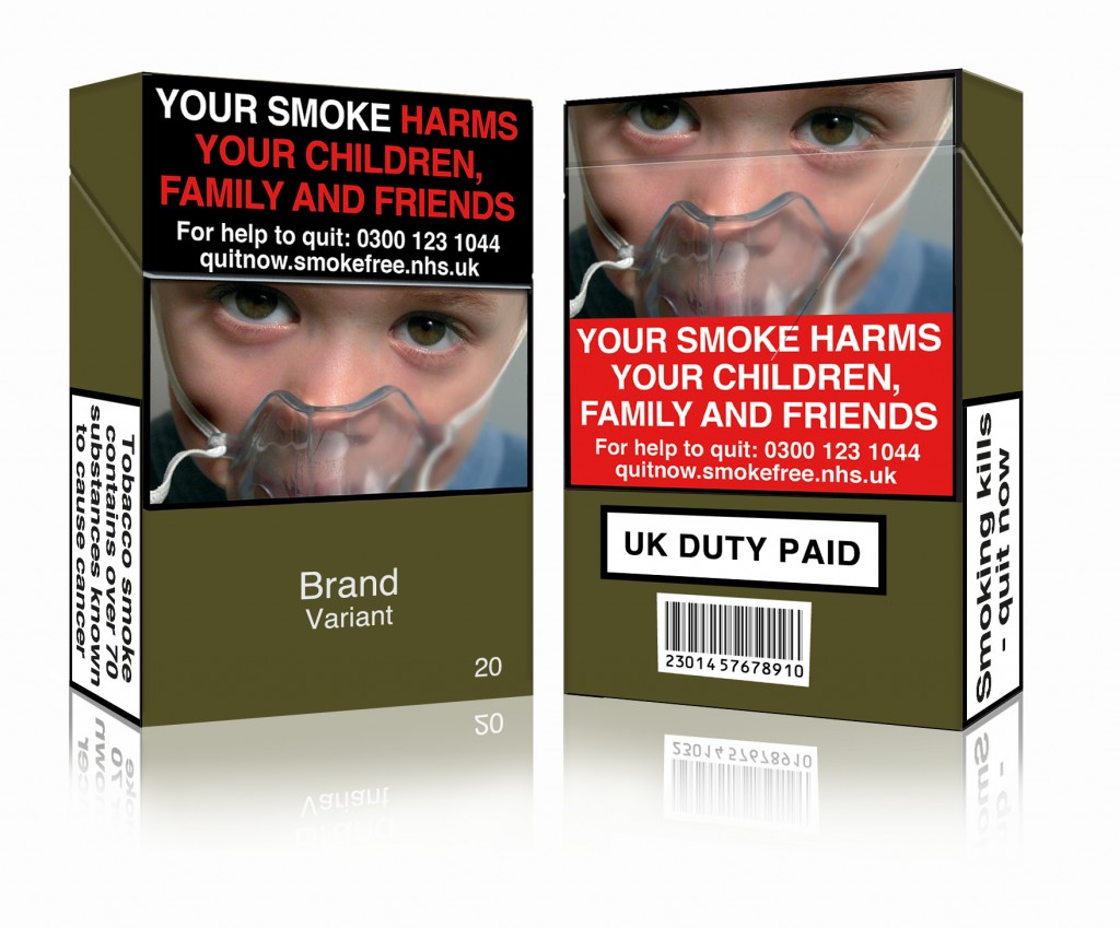 A mock-up of complaint tobacco packaging