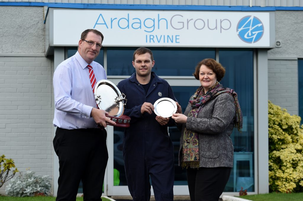 Apprentice Award at Ardagh Glass. Dr Philippa Whitford MP and Graeme Shepherd presenting.