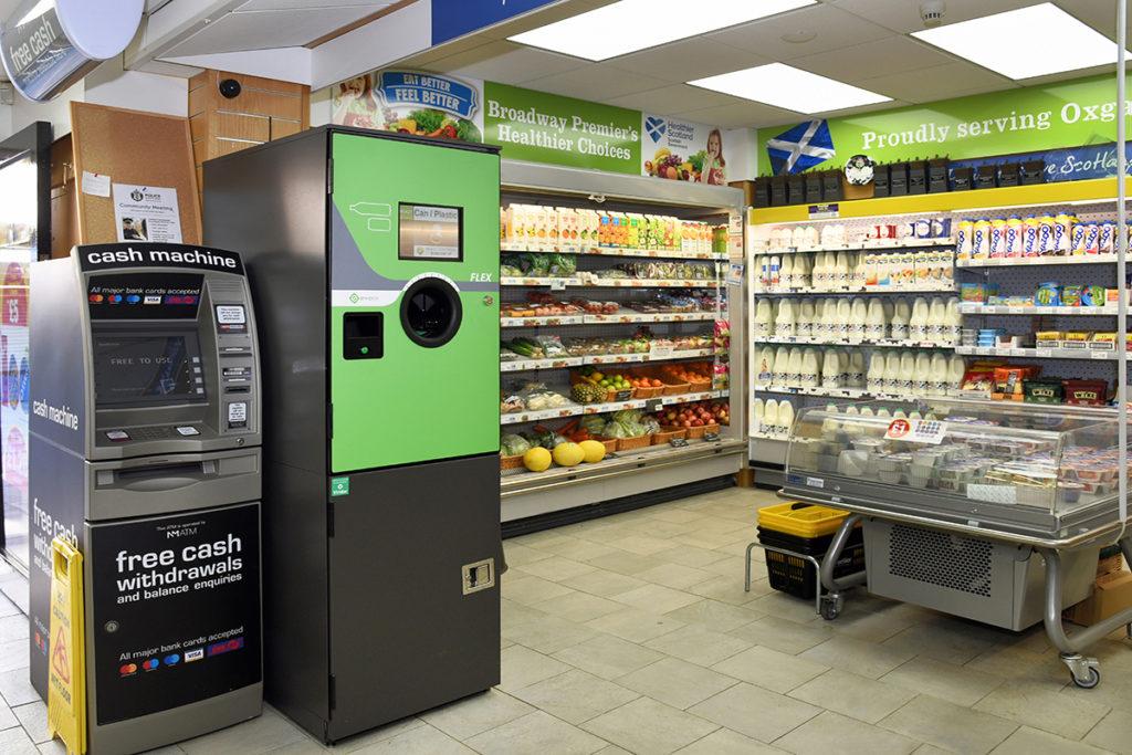 Reverse vending machine in store