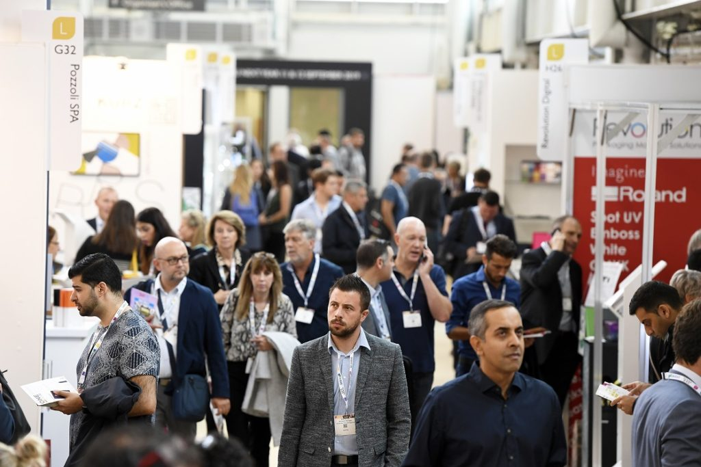 people attending exhibition