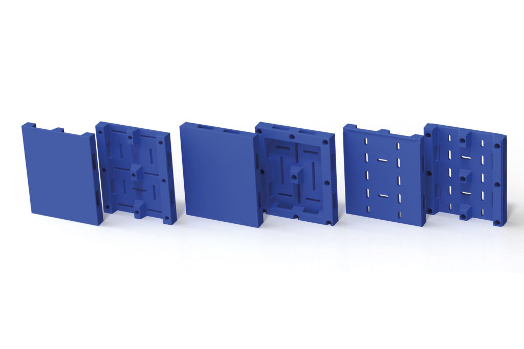 blue pallets in a row